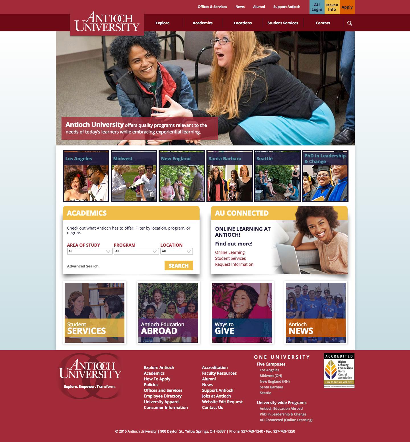 Antioch University website built by Aquatic in San Francisco