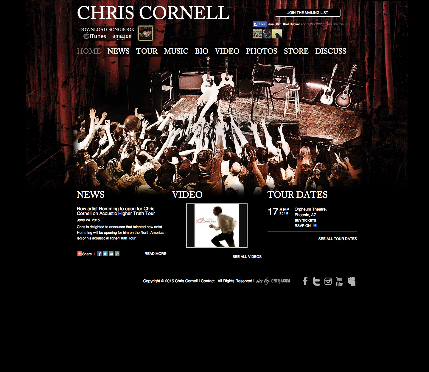 Chris Cornell website built by Aquatic in San Francisco