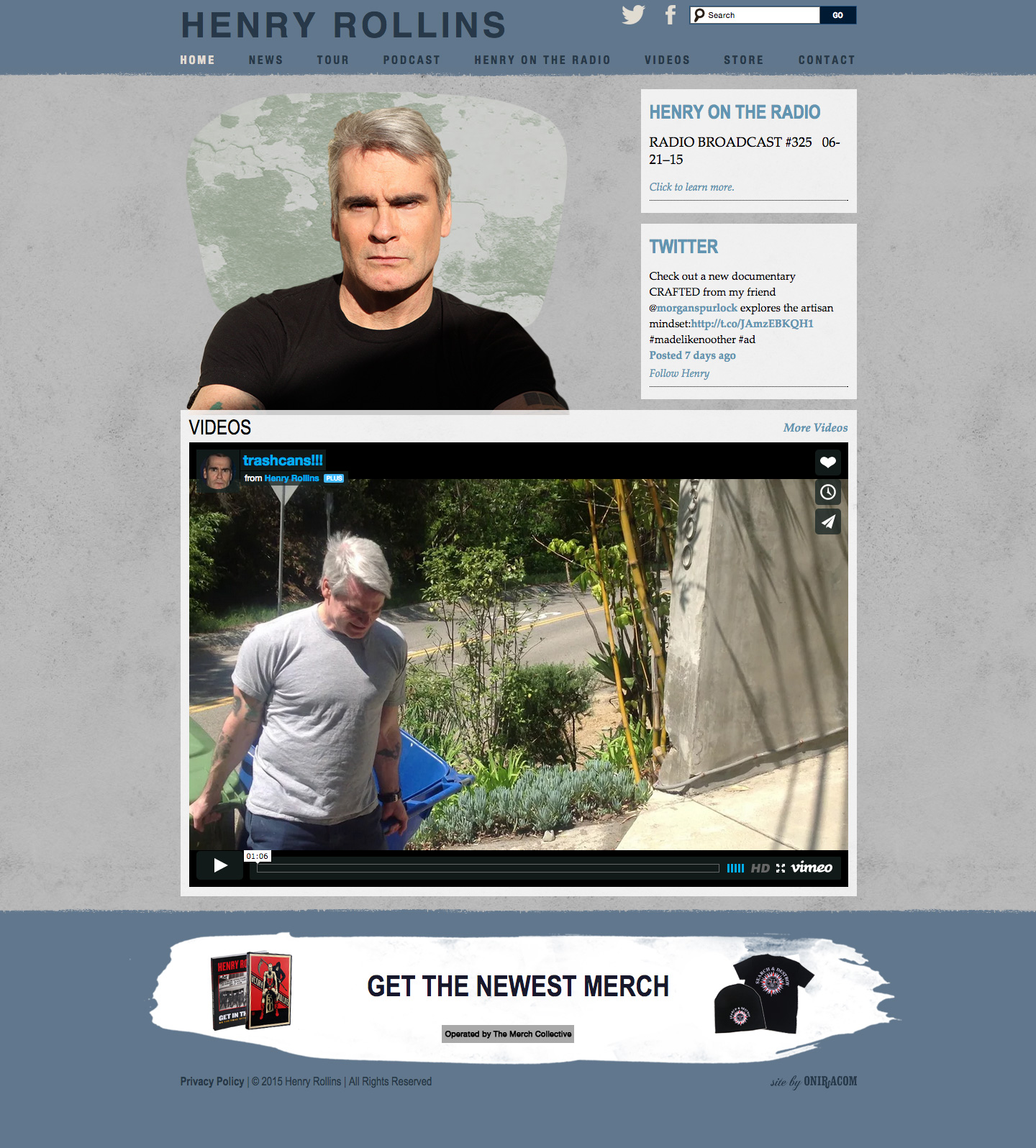 Henry Rollins website built by Aquatic in San Francisco