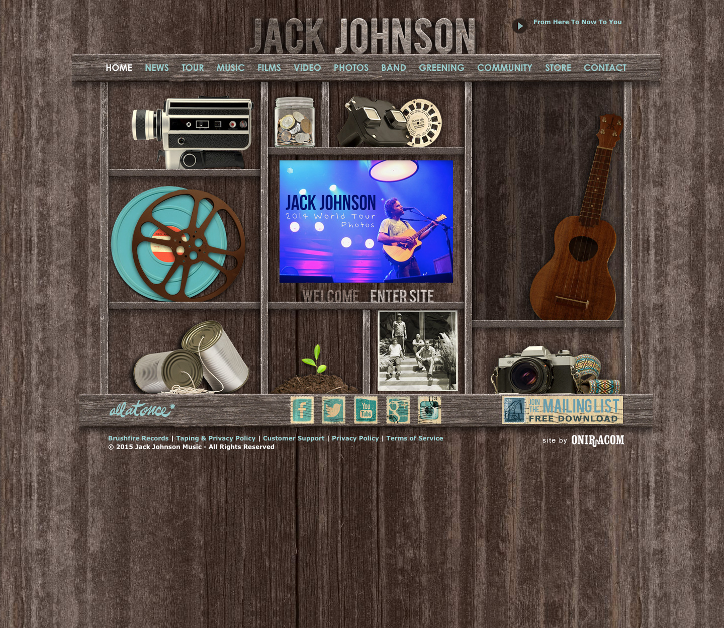 Jack Johnson website built by Aquatic in San Francisco