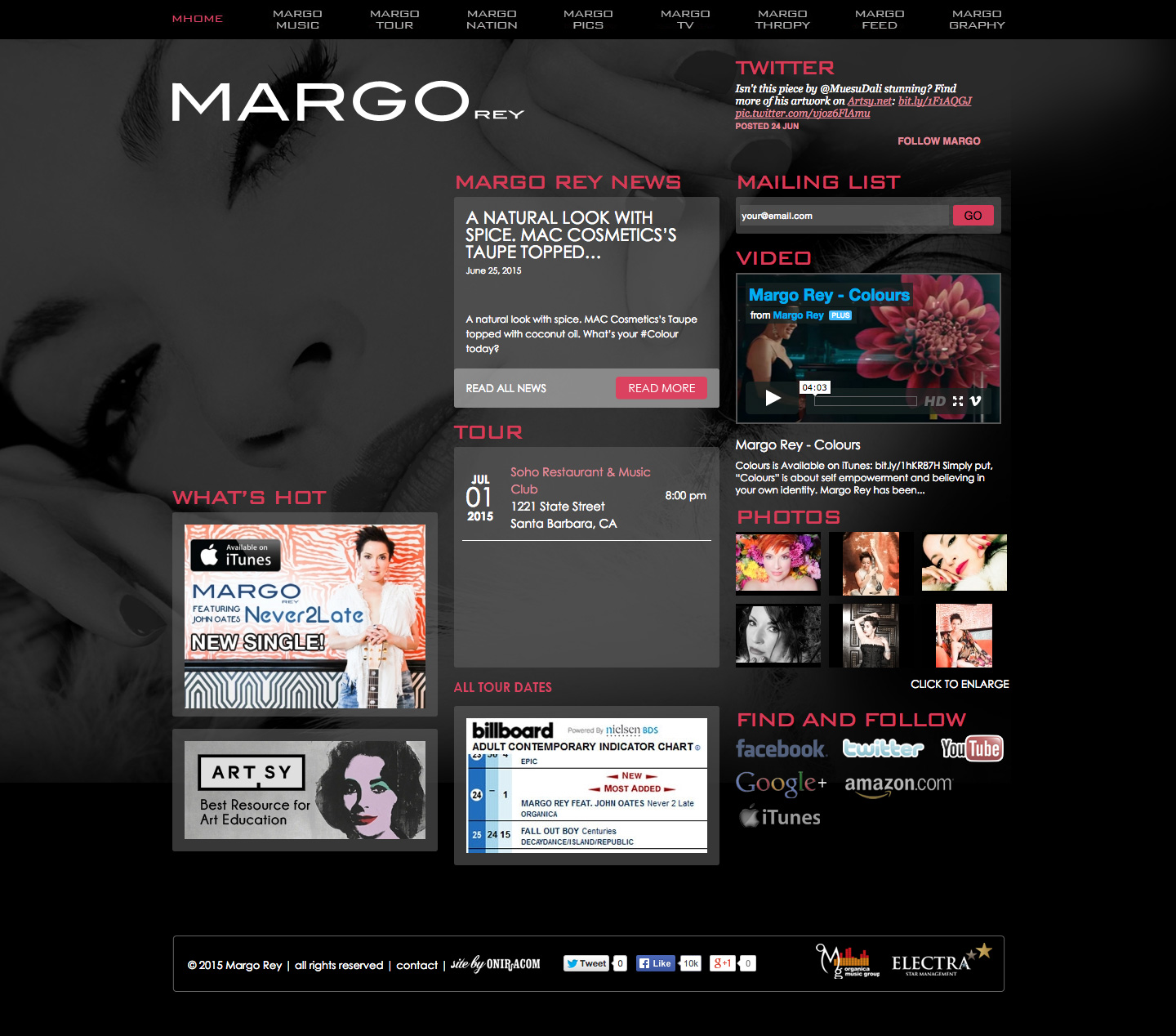 Margo Rey website built by Aquatic in San Francisco