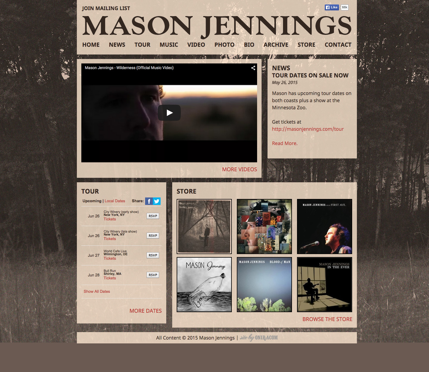 Mason Jennings website built by Aquatic in San Francisco
