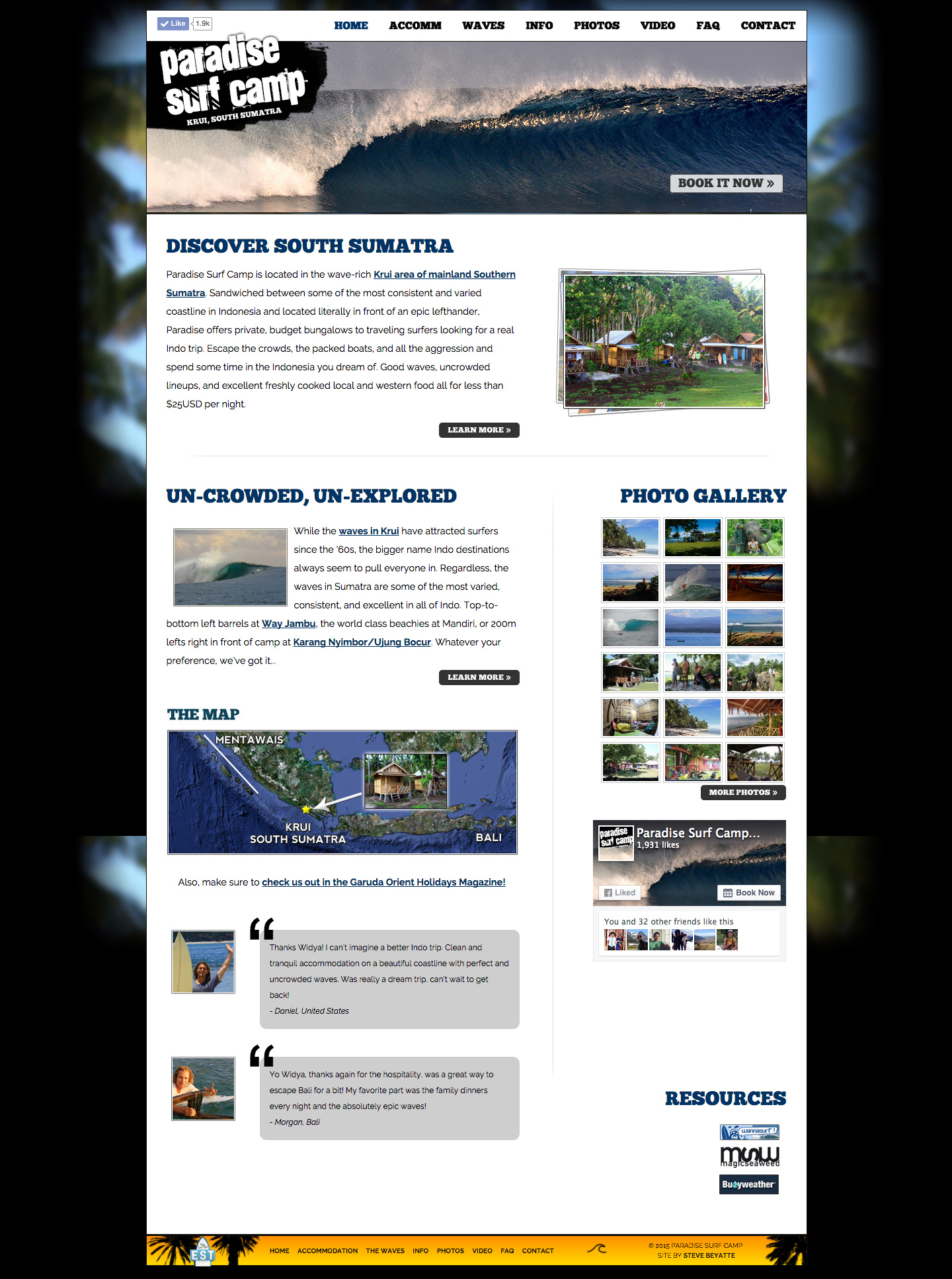 Paradise Surf Camp website built by Aquatic in San Francisco