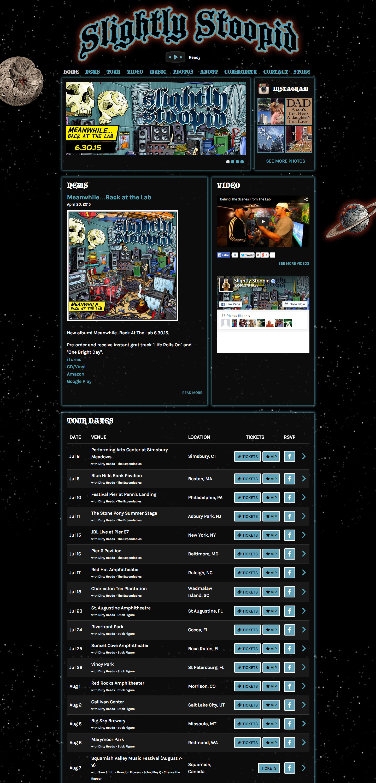 Slightly Stoopid website built by Aquatic in San Francisco